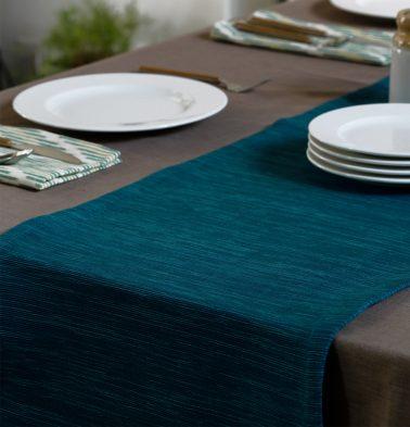 Handwoven Cotton Table Runner Steel Blue 14