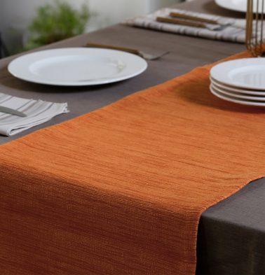 Handwoven Cotton Table Runner Ginger Orange 14