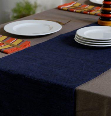 Handwoven Cotton Table Runner Indigo 14