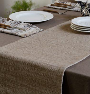 Handwoven Cotton Table Runner Safari Beige 14
