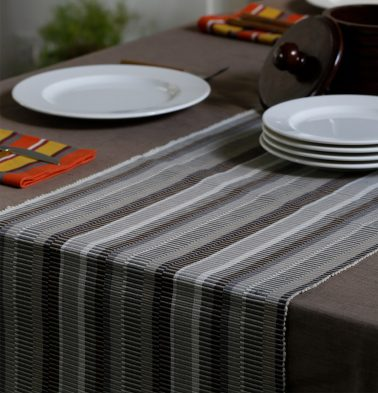 Handwoven Cotton Table Runner Shades of Grey 14