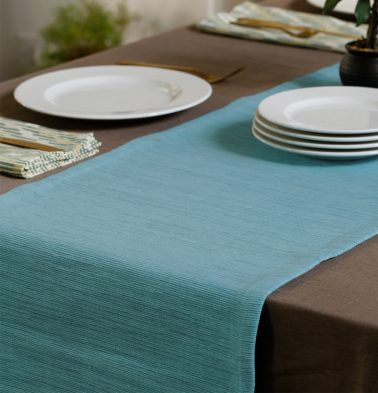 Handwoven Cotton Table Runner Teal Blue 14
