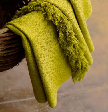 Handwoven Cotton Throw Apple Green