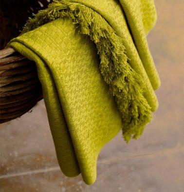 Handwoven Cotton Throw Apple Green
