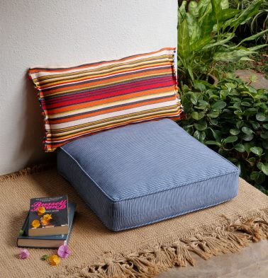 Handwoven Stripes Cotton Floor Cushion Blue