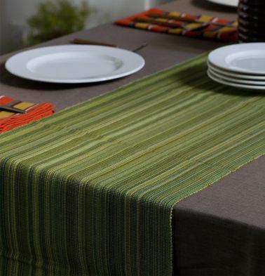 Handwoven Stripes Cotton Table Runner Green 14