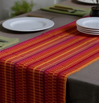 Handwoven Stripes Cotton Table Runner Red/Yellow 14