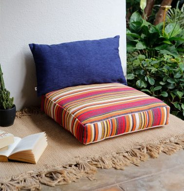 Handwoven Stripe Cotton Floor Cushion Red