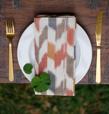 Ikat Handwoven Cotton Table Napkins Multi Color