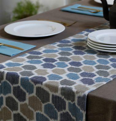 Ikat Handwoven Cotton Table Runner Blue/White 14