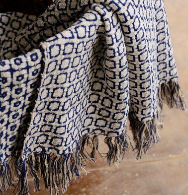 Kaithari Handwoven Cotton Throw Blue/White