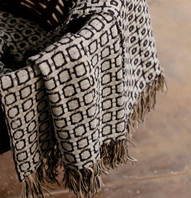 Kaithari Handwoven Cotton Throw Grey/White