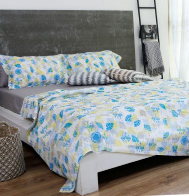 Scattered Semi Print Cotton Duvet Cover Yellow