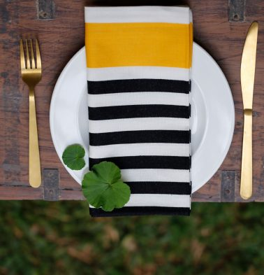Satin Stripes Cotton Table Napkins Yellow/Black - Set of 6