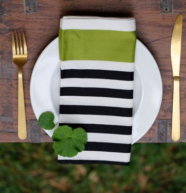 Satin Stripe Cotton Table Napkins Green/Black- Set of 6