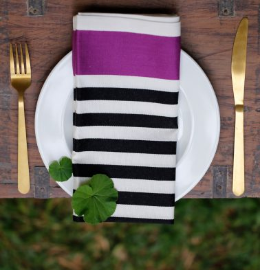 Satin Stripes Cotton Table Napkins Magenta/Black- Set of 6