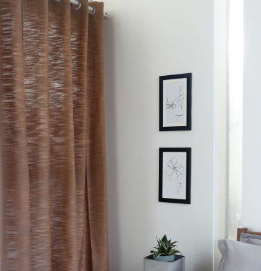 Slub Cotton Curtain Camel Brown