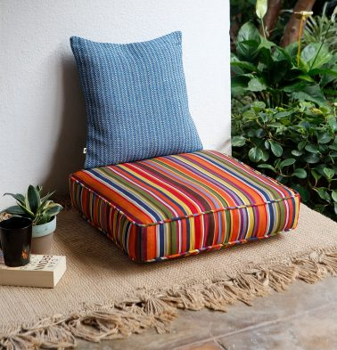 Stripe Floor Cotton Cushion Multi color