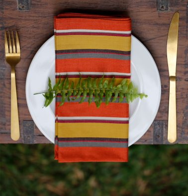 Stripe Cotton Table Napkins Orange/Gold- Set of 6