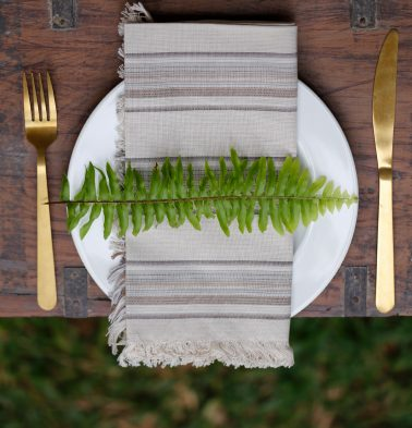 Stripe Cotton Table Napkins Pumice Grey- Set of 6