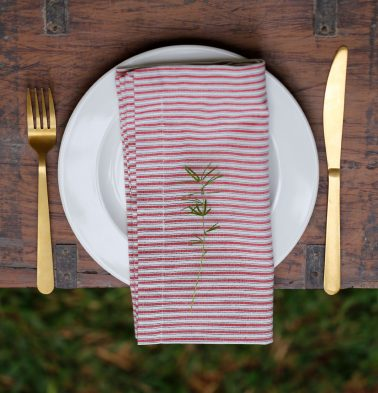 Stripe Cotton Table Napkins Red/White