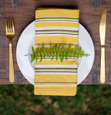 Stripe Cotton Table Napkins Yellow - Set of 6