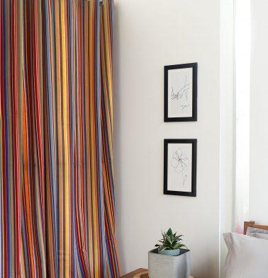 Sunny Stripe Cotton Curtain Multi color
