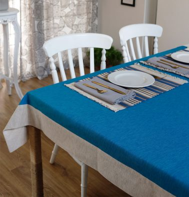 Textura Cotton Table Cloth Aster  Blue 60