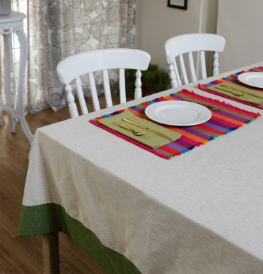 Textura Cotton Table Cloth Beige/Green 60