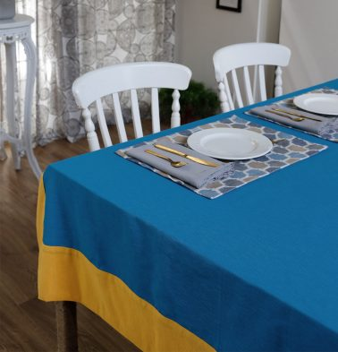 Textura Cotton Table Cloth Blue/Yellow 60