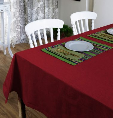 Textura Cotton Table Cloth Cherry Red 60