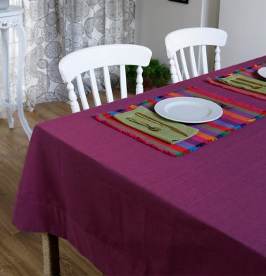 Textura Cotton Table Cloth Magenta Haze 60