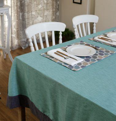Textura Cotton Table Cloth Teal Blue/Grey 60