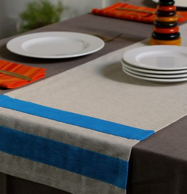 Textura Cotton Table Runner Blue/White 14
