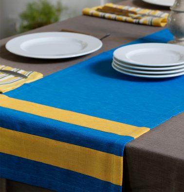 Textura Cotton Table Runner Blue/Yellow 14