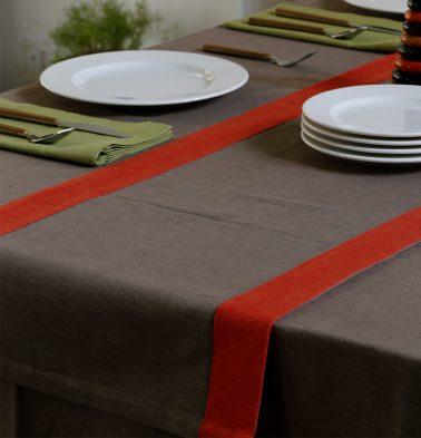 Textura Cotton Table Runner Caribou Brown/Orange 14