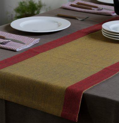 Textura Cotton Table Runner Cranberry/Mustard  14