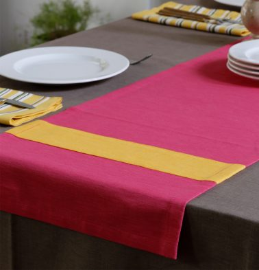 Textura Cotton Table Runner Pink/Yellow 14