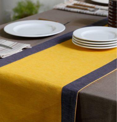 Textura Cotton Table Runner Yellow/Grey 14
