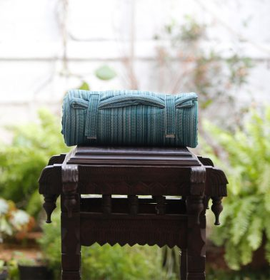 Handwoven Stripe Cotton Travel bed- Blue