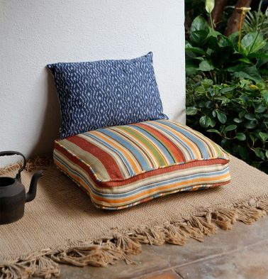 Textured Stripe Cotton Floor Cushion Multi color