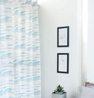 Wave Texture Cotton Curtain Sea Blue