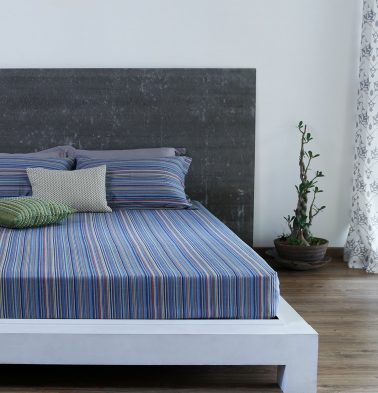 Woven Stripes Cotton Bed Sheet - Blue- With 2 pillow covers