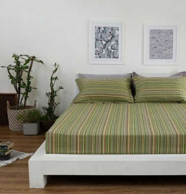 Woven Stripes Cotton Bed Sheet - Green- With 2 pillow covers