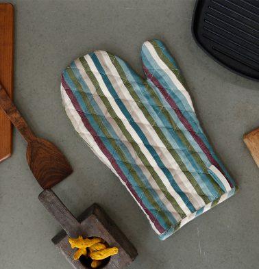 Stripe Twill Cotton Mitts White/Multi color