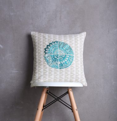 Embroidered Cotton Cushion cover Silver Grey  16