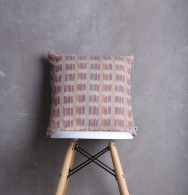 Ikat Cotton Cushion Cover Feather Grey/Multi Colour 16