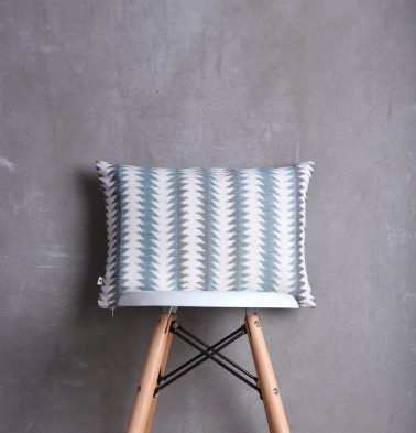 Ikat Handwoven Cotton Cushion Cover Blue/White 12