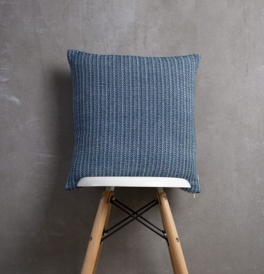 Handwoven Cotton Cushion cover Blue line 18