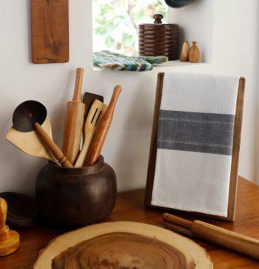 Honeycomb/Twill Cotton Kitchen Towel Charcoal Grey